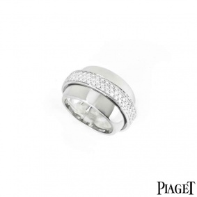 Piaget 18k White Gold Diamond Possession Ring Size 53 B&P G34PM954